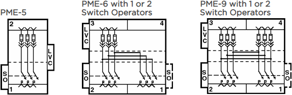 PME-5, PME-6 with 1 or 2 Switch Operators, PME-9 with 1 or 2 Switch Operators